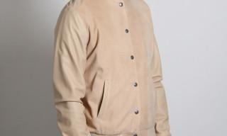 Noir Basic Lamb Suede Varsity Jacket