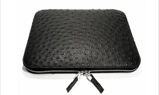 Raymond Hau Black Ostrich iPad Sleeve