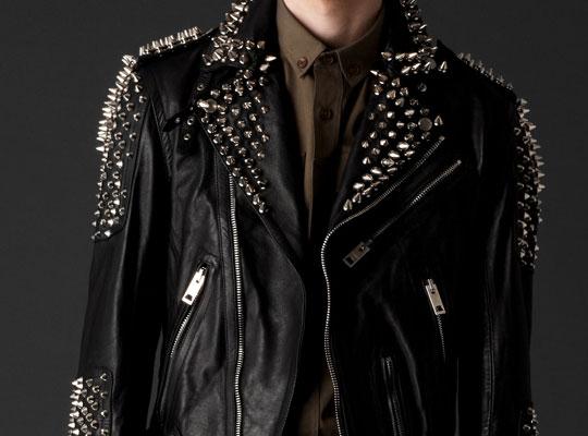 Burberry Prorsum Tumbled Leather Studded Biker Jacket