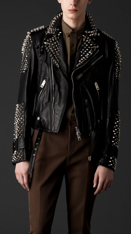 Burberry Prorsum Tumbled Leather Studded Biker Jacket | Highsnobiety
