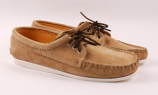 Quoddy Khaki Suede Moccassins