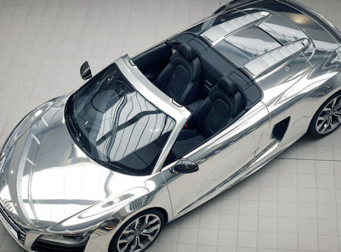 The Audi R8 Spyder Has Been Outfitted With An All Chrome Paint Job, To Be  Auctioned Off At The Elton John AIDS Foundation. On Sunny Days You Have To  Be ...
