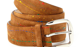 ETRO Paint Splatter Suede Leather Belt