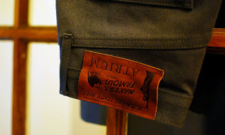 Naked & Famous x Atrium Miltary Green Selvedge Denim