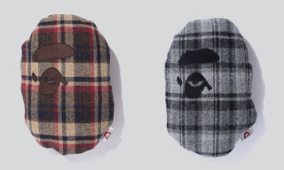 Bape Harris Tweed Ape Face Cushion