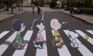 Abbey Road Recreated with Peanuts Characters