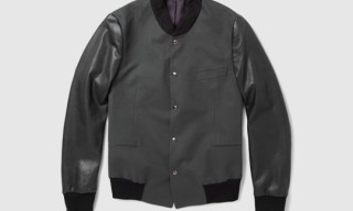 Paul Smith Stretch Cotton Twill and Leather Varsity Jacket