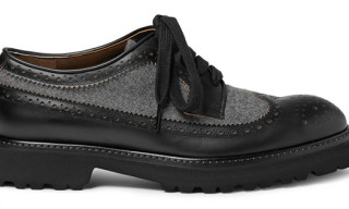 Marni Flannel-Panelled Leather Brogues