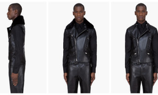 Yves Saint Laurent: Black Shearling Collar Leather Vest