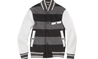 Thom Grey Striped Letterman Jacket
