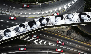 JR Creates Massive 'Inside Out' Installation on Hong Kong's IFC Footbridge
