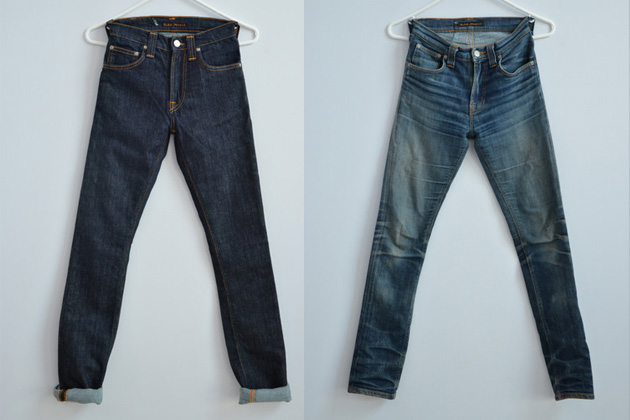 Raw denim before and after