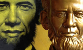 Abraham Obama Bust Gold Edition By Ron English