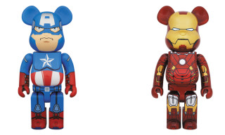 Captain American and Iron Man Bearbricks from Medicom Toy