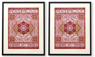 "Win 1 of 2 Signed & Framed OBEY ""Peace & Love"" Prints from Karmaloop"