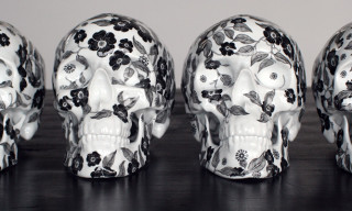"K.olin tribu x NooN ""Black Flower"" Porcelain Skull Sculpture"