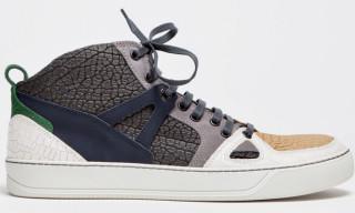 Lanvin Textured Grey Mid Top Sneaker