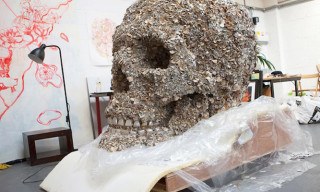 5-Foot Tall Skull Covered in Leather Flowers by Jacky Tsai