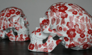 K.Olin tribu x NooN 'Fleurs Rouges' Porcelain Skull Sculptures