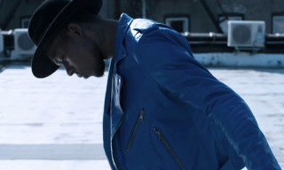 BLK DNM Custom Cobalt Blue Leather Biker Jacket for Theophilus London