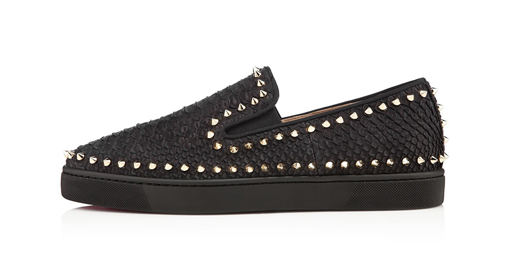 mens black spiked loafers - Christian Louboutin Pik Boat Studded Python Sneakers - Highsnobiety