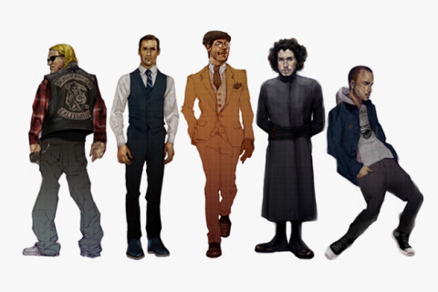 Television's Best Characters Illustrated in Contemporary Fashion