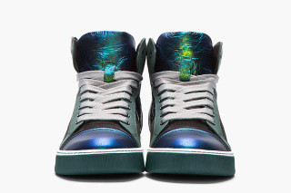 Lanvin Green and Blue Mid-Top Leather Sneaker