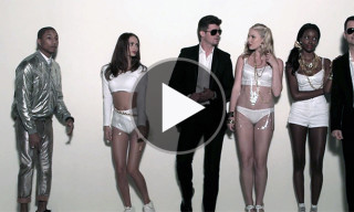 "Watch Robin Thicke, Pharrell, Jimmy Kimmel & Guillermo In a Special Version Music Video for ""Blurred Lines"""