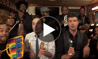 "Robin Thicke, Jimmy Fallon & The Roots Perform ""Blurred Lines"" Using Children's Instruments"