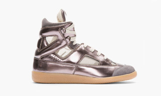 Maison Martin Margiela Taupe and Purple Leather High-Tops Exclusive to SSENSE
