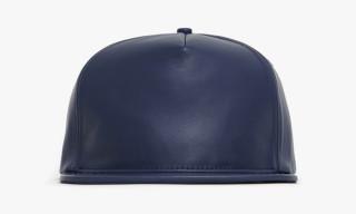 Stampd LA Navy and Beige Lambskin Snapback Caps