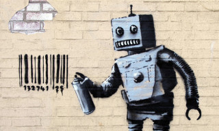 "Banksy ""Better Out Than In"" Day 28 – 'Robot Writer'"