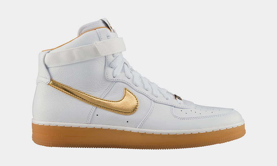 nike air force 1 white and gold