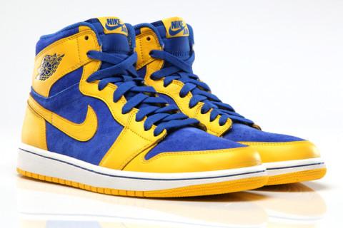 Nike Air Jordan 1 Retro Haute Og Bleu Jaune