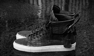 En Noir x Buscemi 100mm Croc-Stamped Leather High Top for Barneys New York