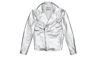 Acne Gibson Leather Jacket Silver