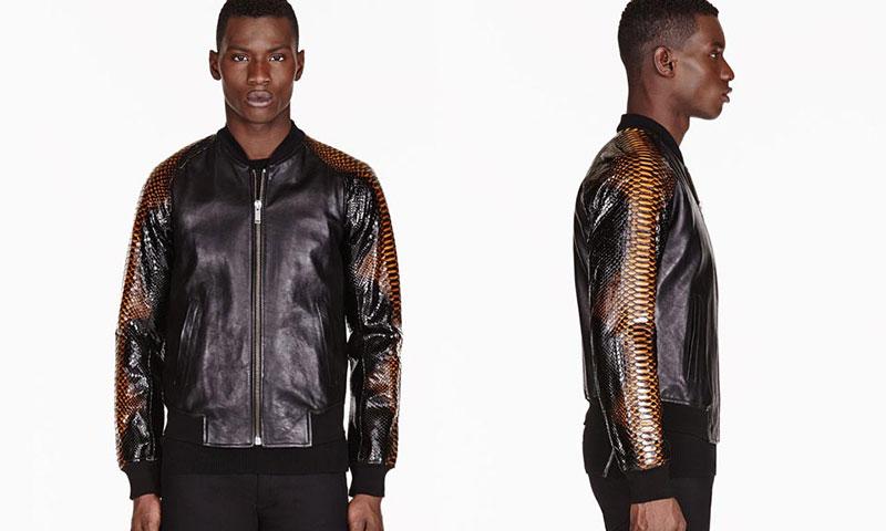 Alexander McQueen Black Leather &amp Python Bomber • Highsnobiety