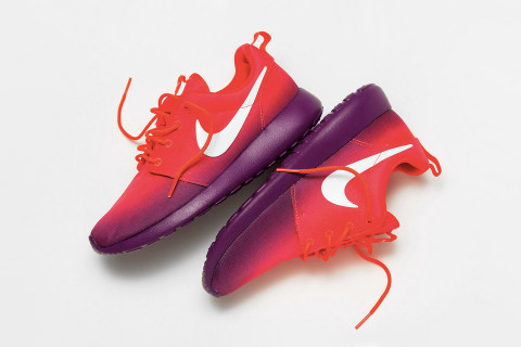 "online store df9a0 f0593 Adding a unique ombre print to one of their most popular silhouettes, Nike  presents the Roshe Run ""Laser CrimsonWhite-Bright Grape"" for Summer 2014."