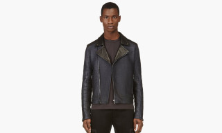 Calvin Klein $70,000 USD Navy Alligator Biker Jacket for SSENSE
