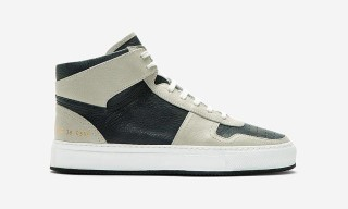 Common Projects Navy and Grey Leather High Tops – SSENSE Exclusive