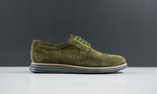 Cole Haan Lunargrand Long Wingtip in Olive Steade Suede