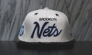 Just Don Leather Brooklyn Nets Script Logo Hat