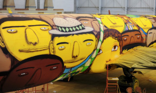 Os Gêmeos Graffiti the Brazilian National Team's Airplane for the World Cup