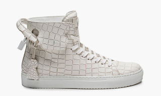 En Noir x Buscemi 125mm Croc-Stamped Leather High Top