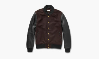 Club Monaco Leather and Wool Blend Bomber Jacket