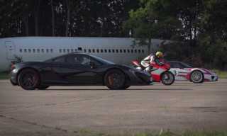 Watch a Ducati 1199 Superbike Take On a McLaren P1 and Porsche 918 in a Drag Race
