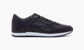 ETQ Amsterdam Black Croc Embossed Leather Sneakers