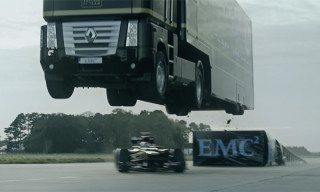 Watch a Semi-Truck Jump Over a Formula 1 Car