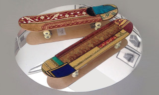 Skateboards with Prayer Rugs by Mounir Fatmi