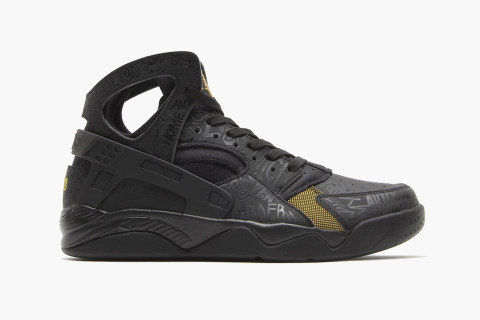 Nike gets antagonistic with a new Air Flight Huarache sneaker emblazoned  with graffiti-scrawled smack talk. An all-black upper is accompanied by  gold ... fe99d6229